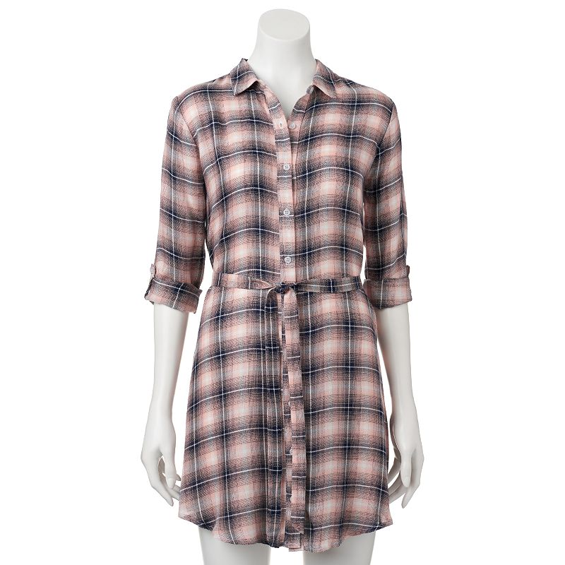 Juniors' Trixxi Plaid Shirtdress