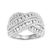 10k White Gold 1 1/2 Carat T.W. Diamond Crisscross Ring