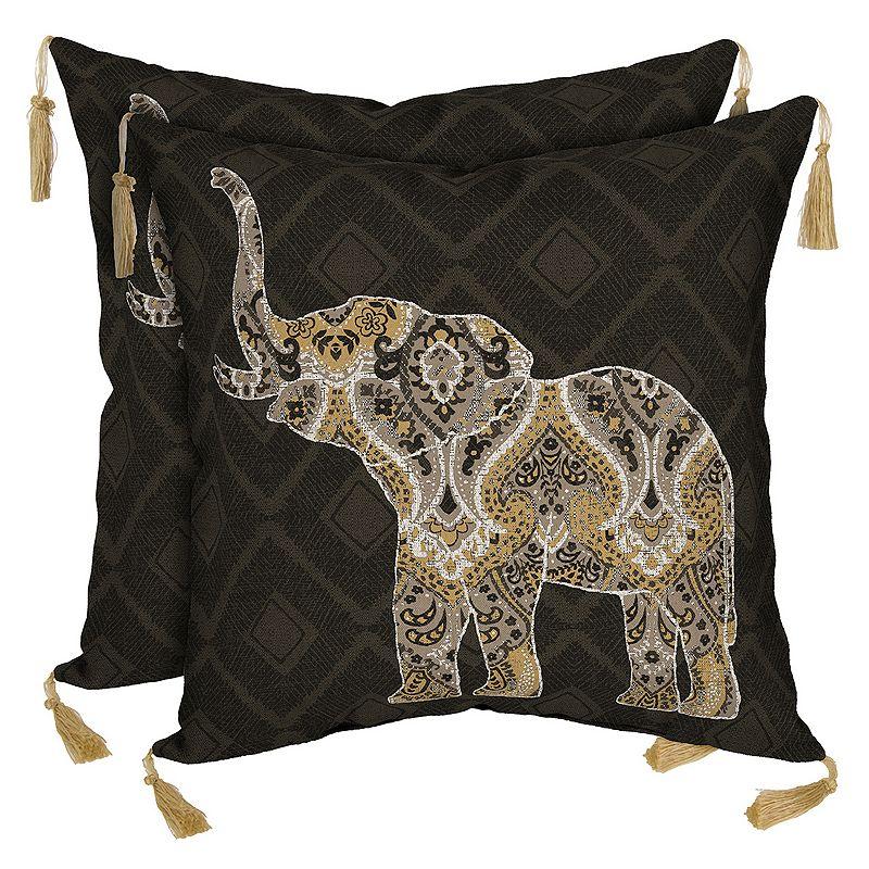 Bombay® Outdoors Casablanca Elephant Tassels Reversible Throw Pillow 2-piece Set