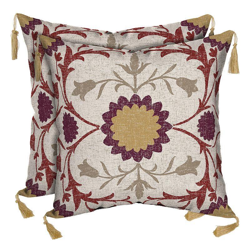 Bombay® Outdoors Turkish Garden Floral Tassels Reversible Throw Pillow 2-piece Set
