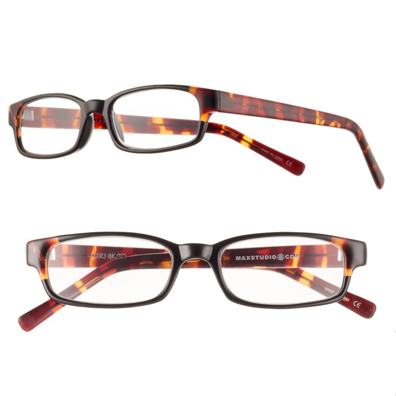 max studio shiny tortoise rectangle reading glasses