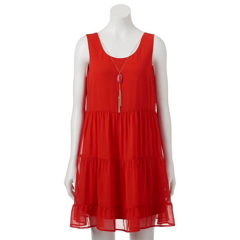 Juniors' Lily Rose Tiered Babydoll Dress