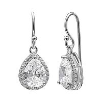 PRIMROSE Sterling Silver Cubic Zirconia Teardrop Halo Earrings