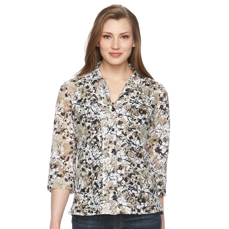 Women's Napa Valley Floral Lace Mock-Layer Blouse