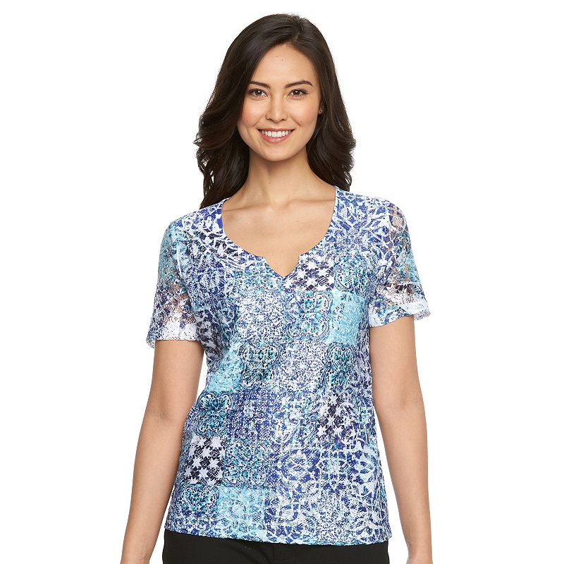 Women's Napa Valley Scroll Lace-Front Top