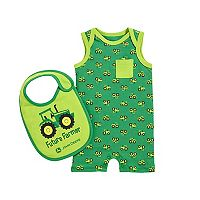 Baby Boy John Deere Tractor Romper & Bib Set