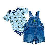 Baby Boy John Deere Tractor Bodysuit & Jean Shortalls Set