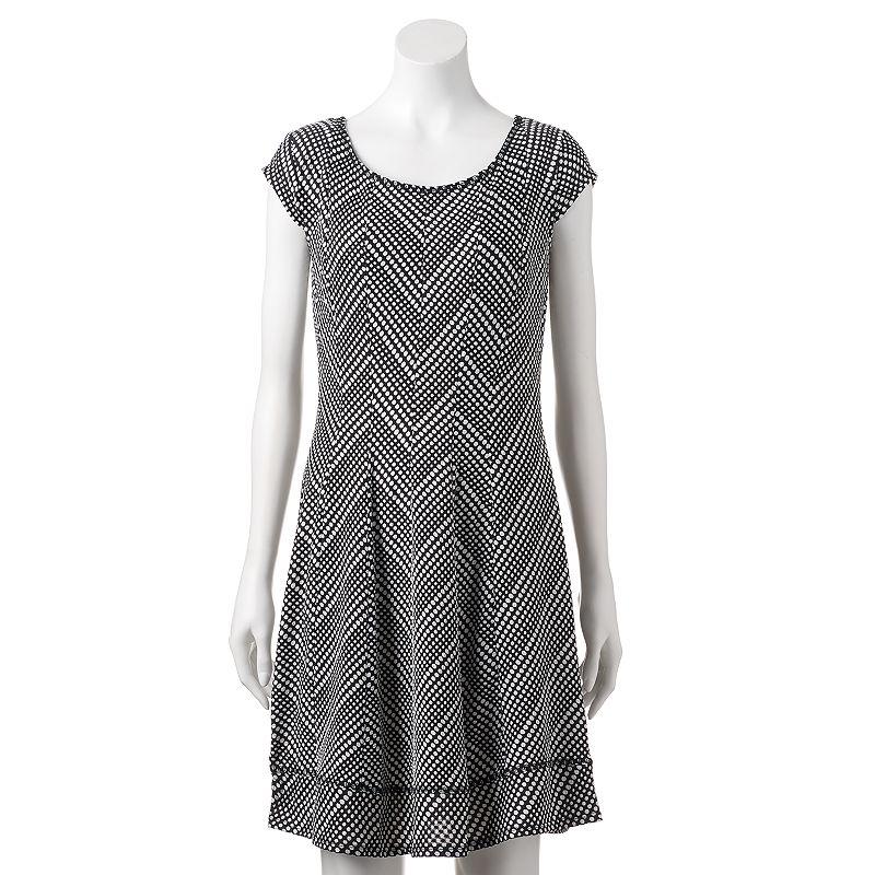 Women's Bethany Texture Chevron Fit & Flare Dress