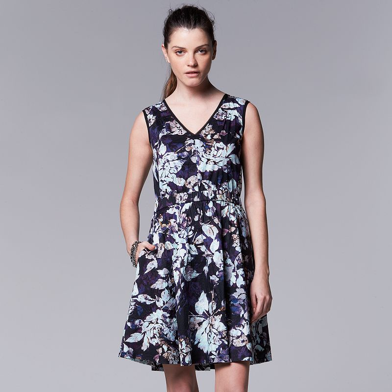Women's Simply Vera Vera Wang Print Crinkle Fit & Flare Dress