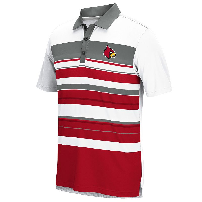 Men's adidas Louisville Cardinals Striped Performance Polo