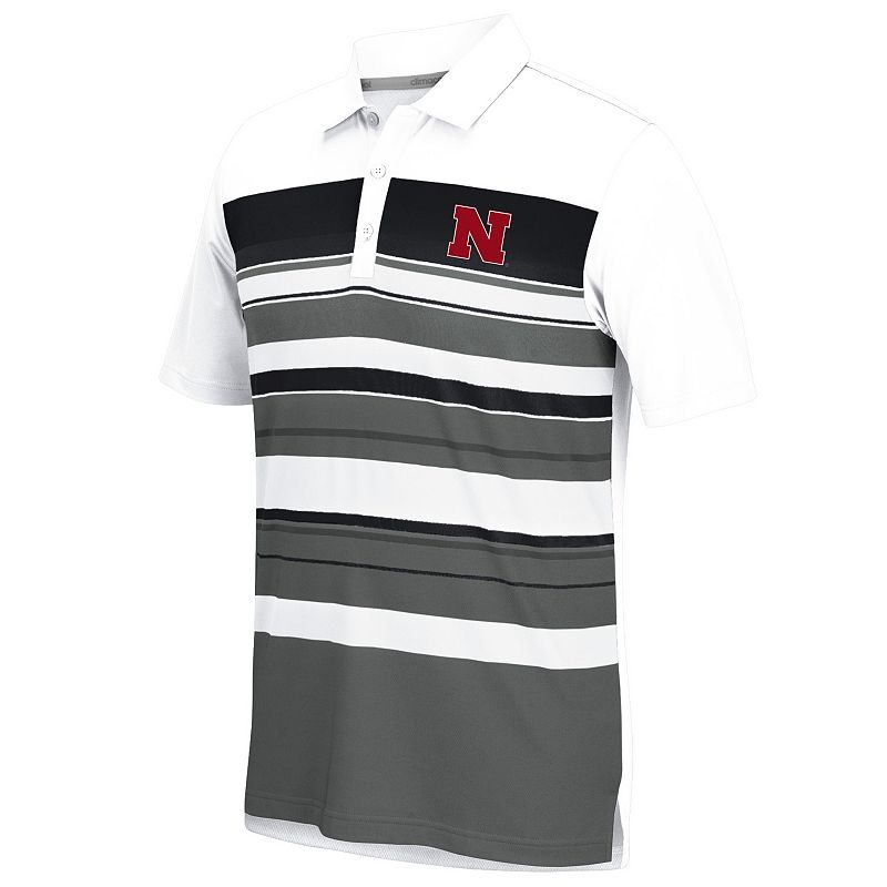 Men's adidas Nebraska Cornhuskers Striped Performance Polo