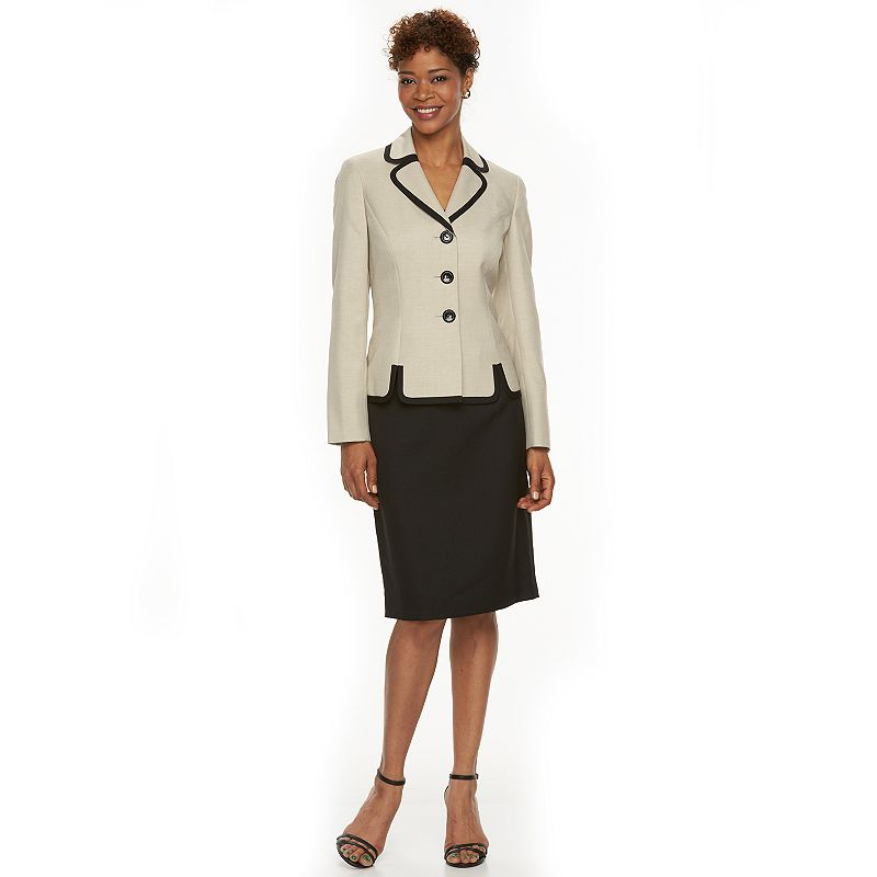 Women's Le Suit Solid Suit Jacket & Skirt Set