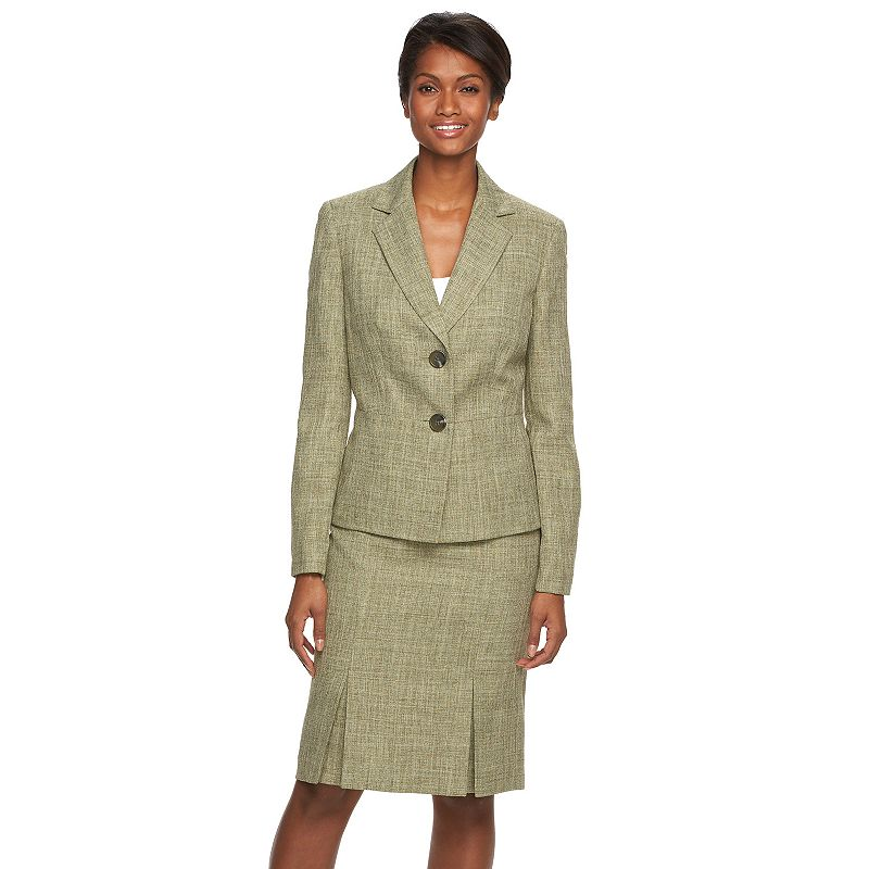 Women's Le Suit Textured Weave Jacket & Skirt Set