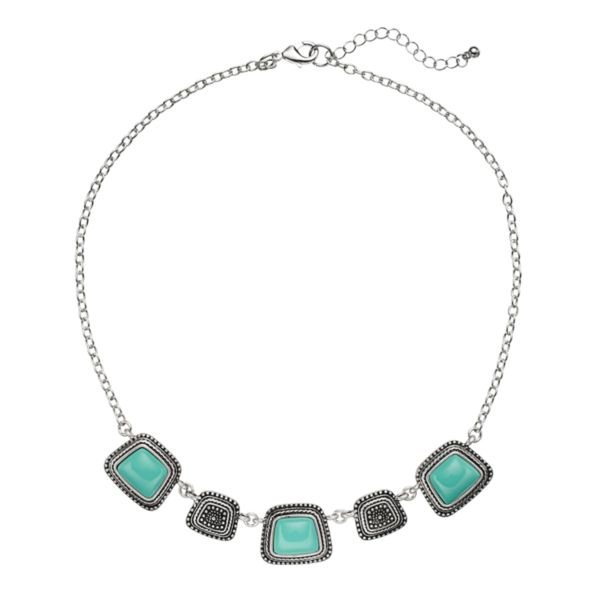 Textured Simulated Turquoise Collar Necklace