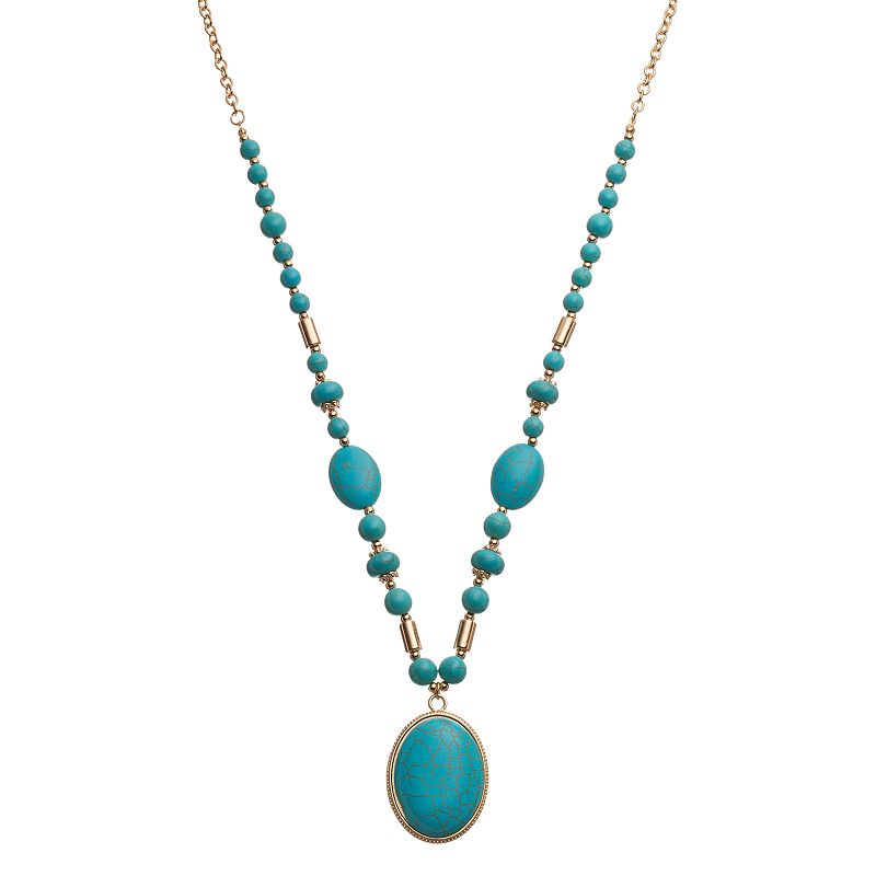 Long Simulated Turquoise Oval Cabochon Pendant Necklace