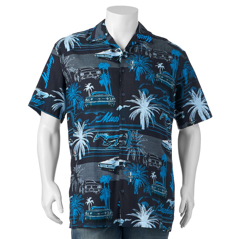 Big & Tall Newport Blue Mustang Palms Button-Down Shirt