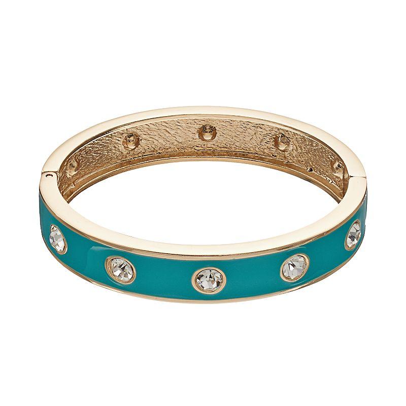 Aqua Hinged Bangle Bracelet