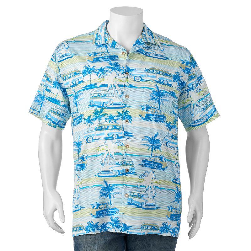 Big & Tall Newport Blue Retro Cruisin' Button-Down Shirt
