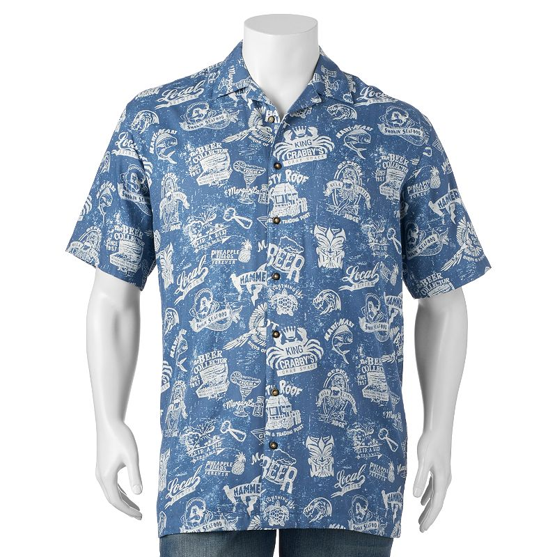 Big & Tall Newport Blue Making The Rounds Casual Button-Down Shirt