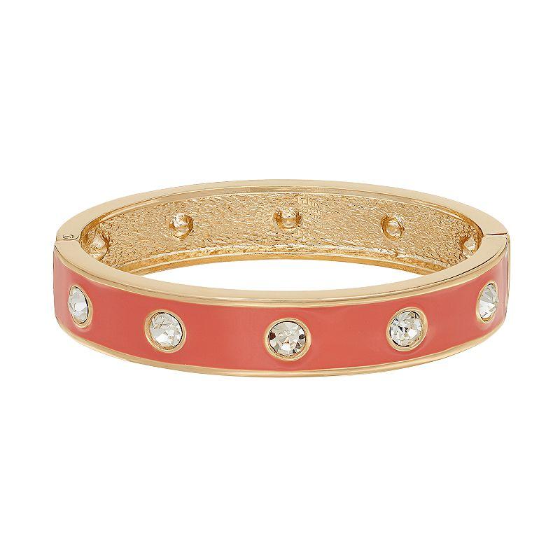 Studded Pink Hinged Bangle Bracelet
