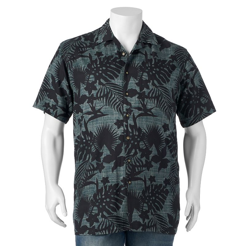 Big & Tall Newport Blue Patterned Button-Down Shirt