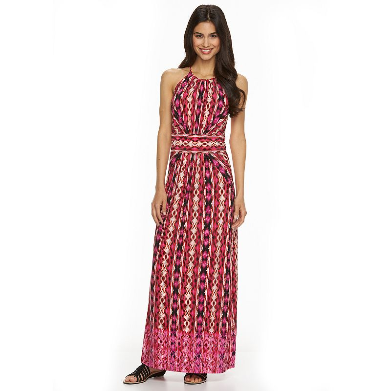Petite Suite 7 Ikat Maxi Halter Dress