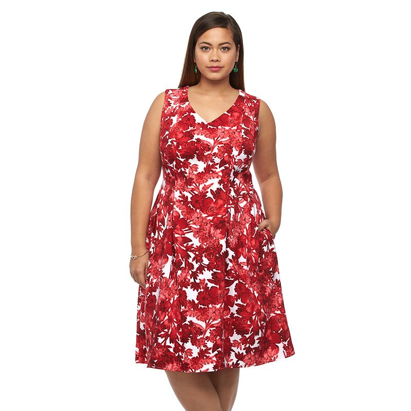 Plus Size Suite 7 Floral Fit & Flare V-Neck Dress
