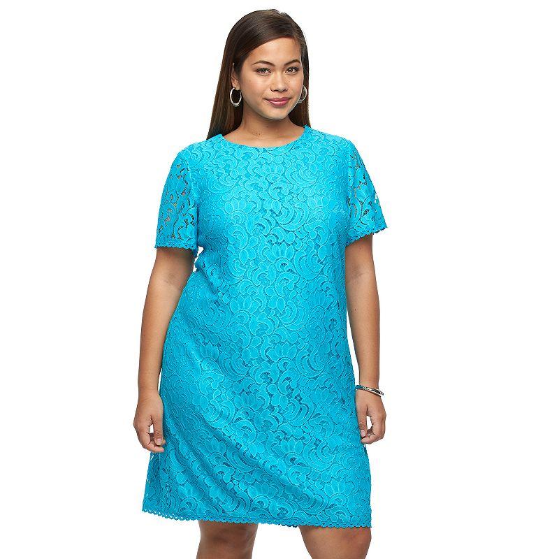 Plus Size Suite 7 Scroll Lace Shift Dress