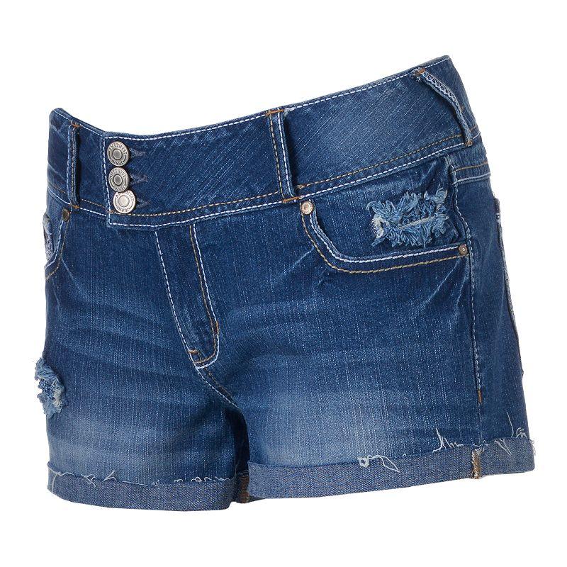 Juniors' Amethyst Destructed Cutoff Denim Shortie Shorts