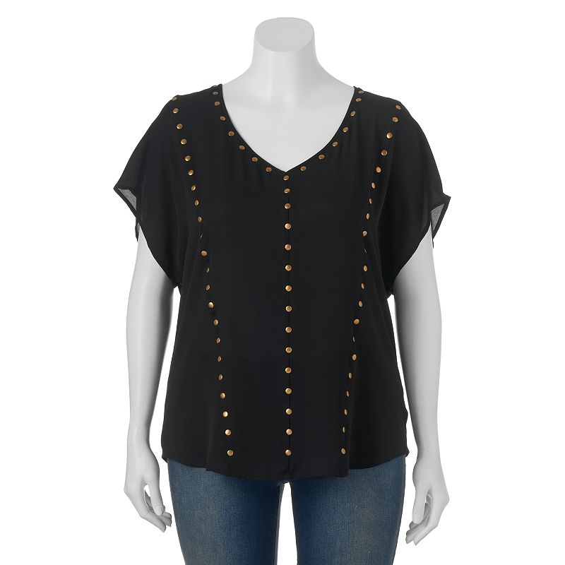 Juniors' Plus Size HeartSoul Mixed-Media Studded Top