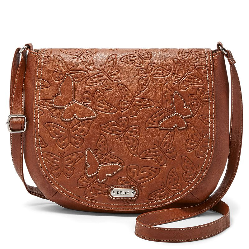Relic Kendall Flap Butterfly Embossed Crossbody Saddle Bag