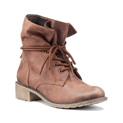 Mudd Women's Flannel Lace-Up Combat Boots