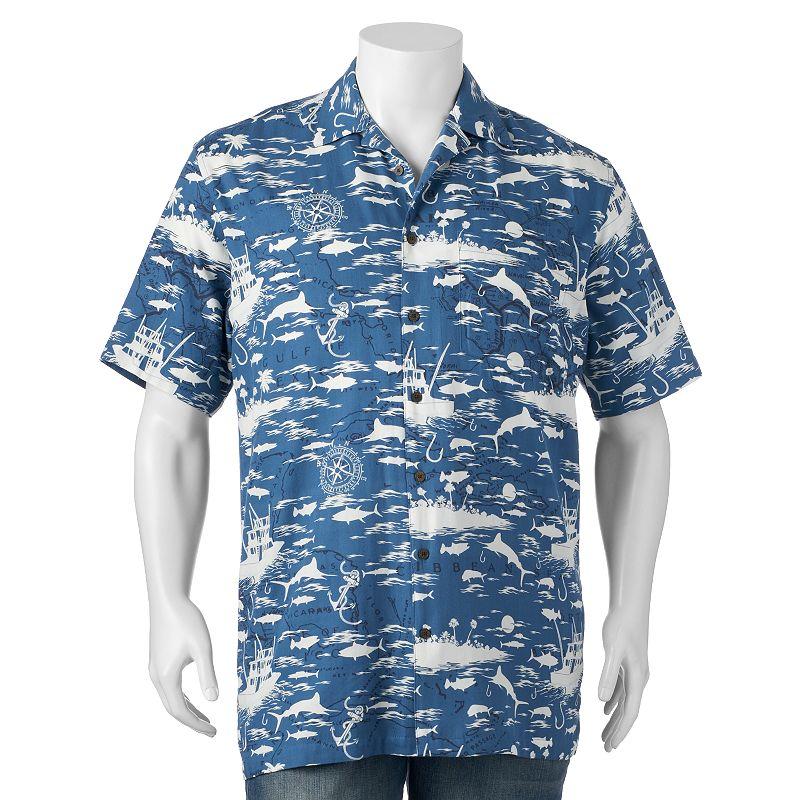 Big & Tall Newport Blue Chartered Waters Button-Down Shirt