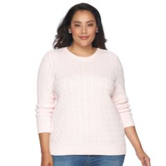 Plus Size Croft & Barrow® Cable-Knit Crew Sweater