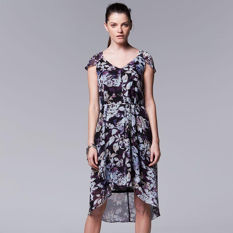 Petite Simply Vera Vera Wang Floral Chiffon High-Low Dress