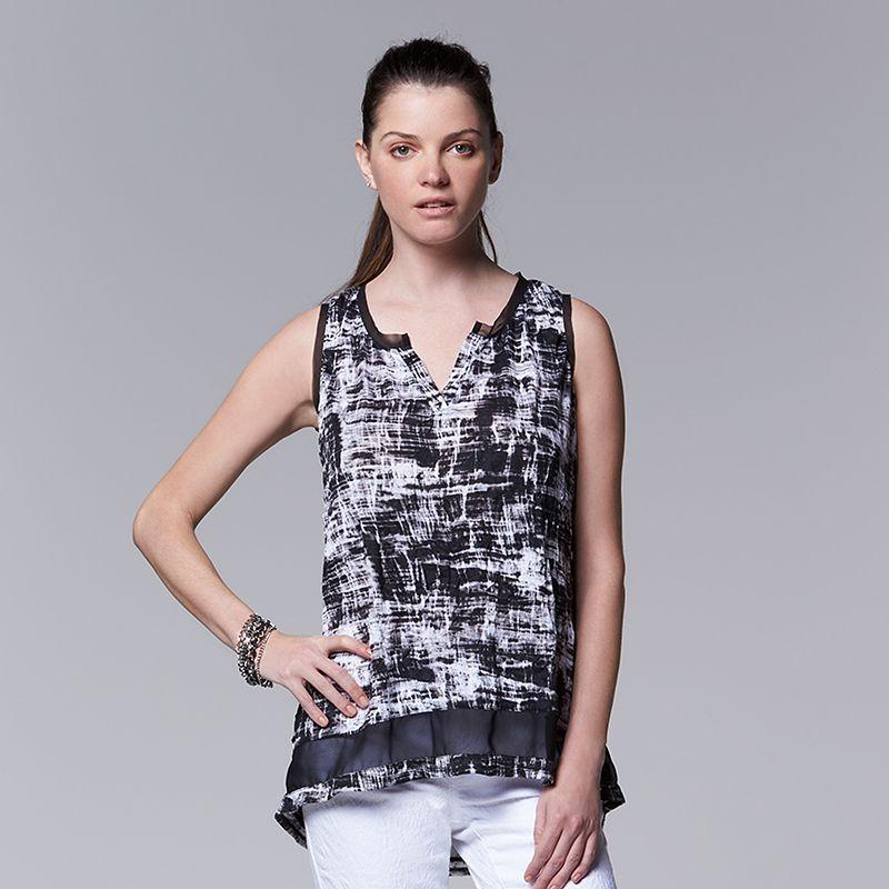 Women's Simply Vera Vera Wang Chiffon Inset Crinkle Tank