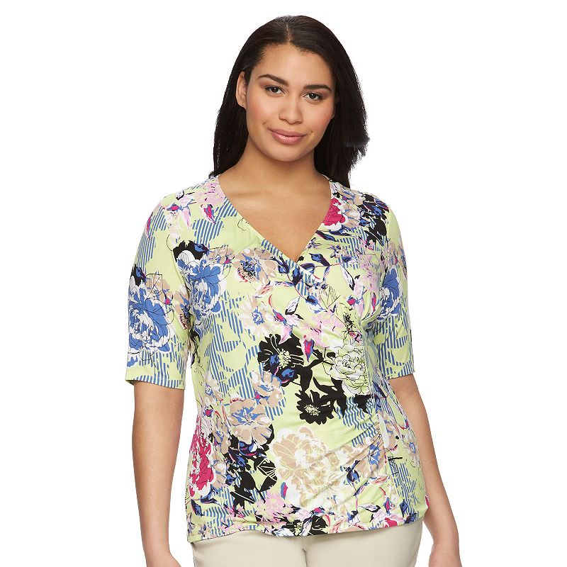 Plus Size Dana Buchman V-Neck Wrap Top