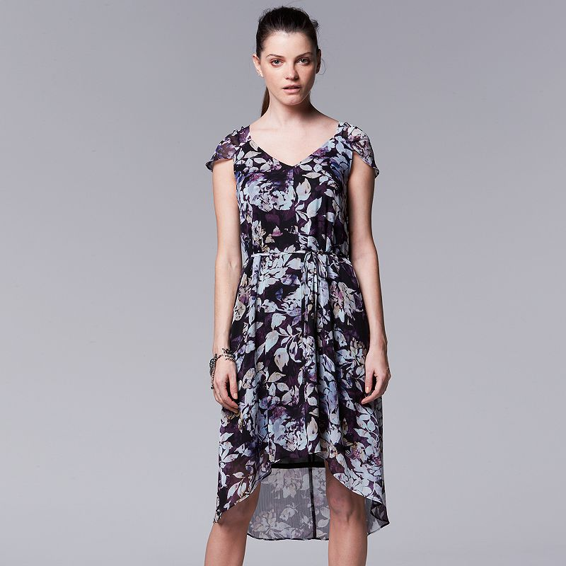 Women's Simply Vera Vera Wang Floral Chiffon High-Low Dress