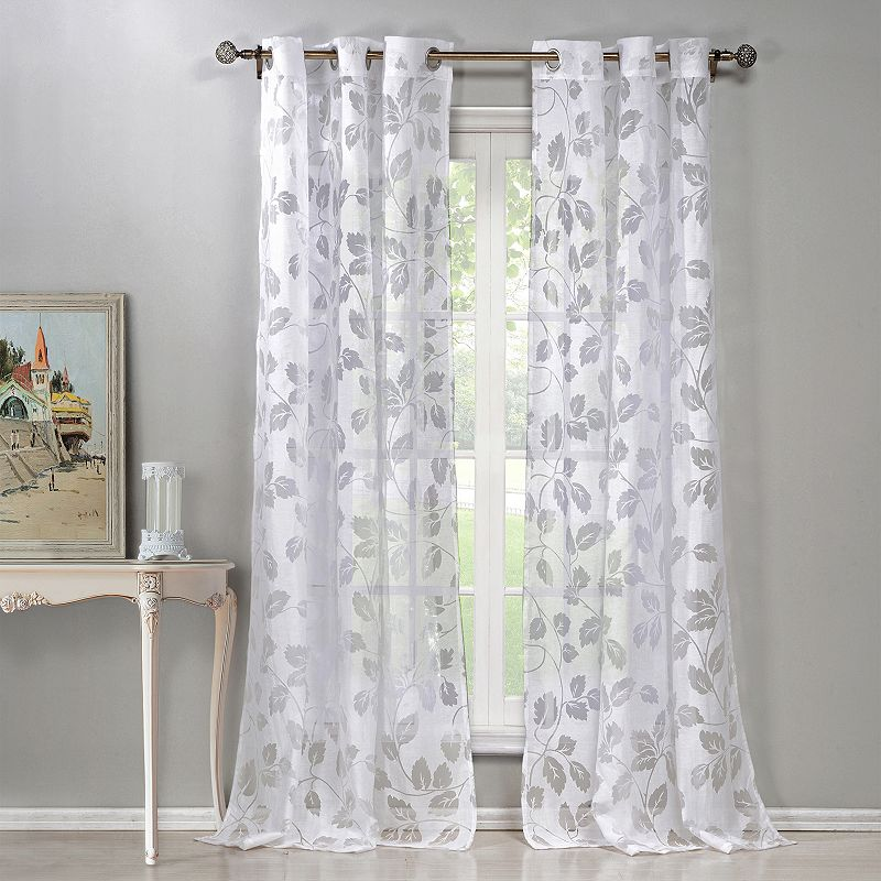 Laura Ashley Lifestyles 2 Pack Tatoon Sheer Window Curtains: Cotton Curtains