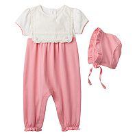 Baby Girl Harry & Violet Bib-Front Coverall & Bonnet Set