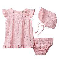 Baby Girl Harry & Violet Eyelet Dress & Bonnet