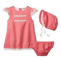 Baby Girl Harry & Violet Lace Trim Dress & Bonnet Set
