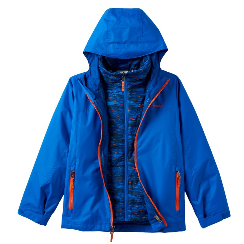 Boys 4-7 Columbia Heavyweight Interchangable Thermal Coil Hooded 3-in-1 Jacket, Boy's, Size: 6-7, Brt Blue