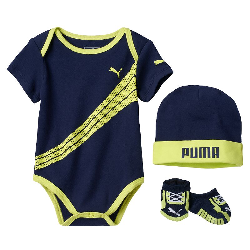 Baby Boy PUMA Logo Bodysuit, Socks & Hat Set