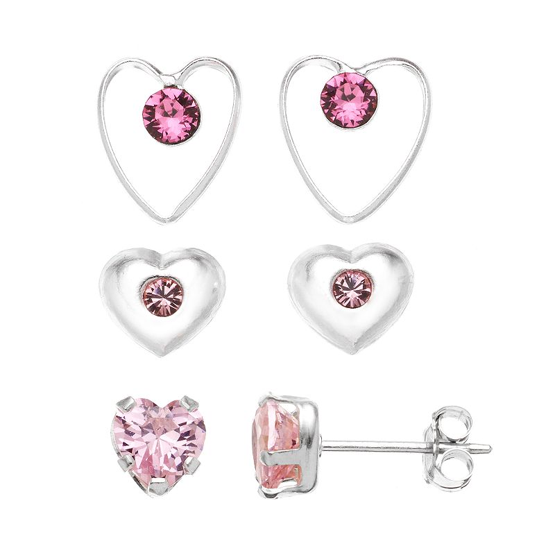 Charming Girl Kids' Sterling Silver Crystal & Cubic Zirconia Heart Stud Earring Set