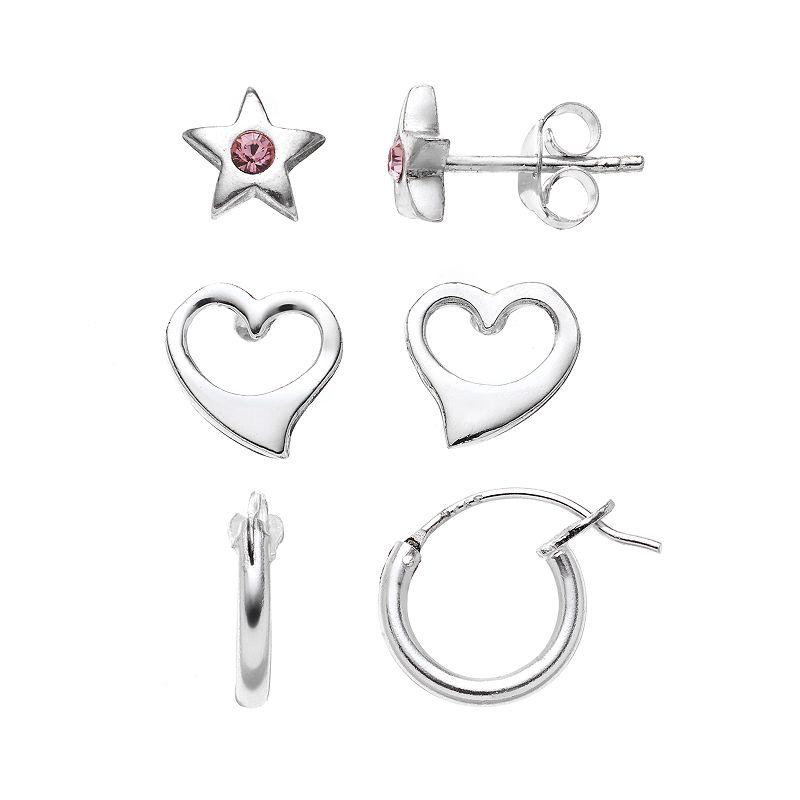 Charming Girl Kids' Sterling Silver Crystal Star, Heart Stud & Hoop Earring Set