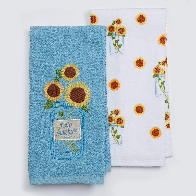 Celebrate Fall Together Sunflower Jar Kitchen Towel 2-pk.