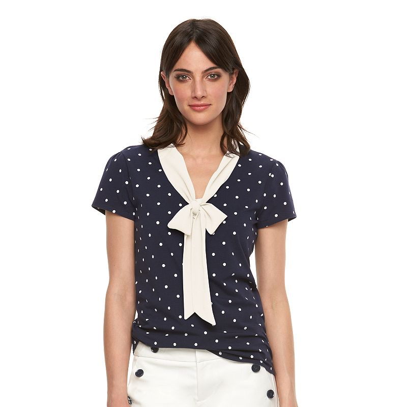 Women's ELLE™ Polka-Dot Bow Tee