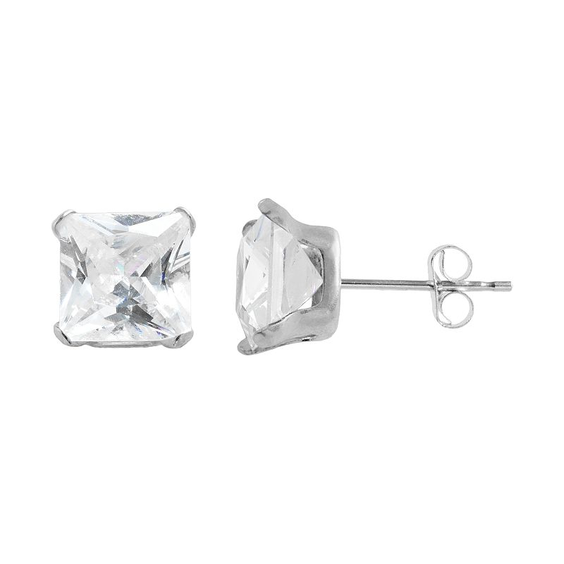 10k White Gold Cubic Zirconia Square Stud Earrings