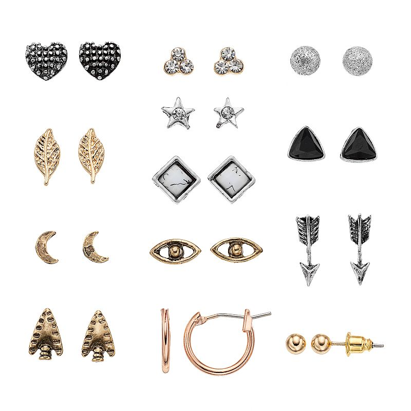 Mudd® Tri Tone Arrowhead, Evil Eye & Star Earring Set
